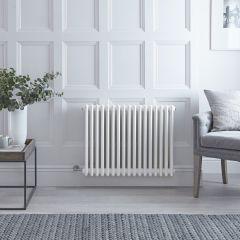 "Regent Electric -  White Horizontal 3-Column Traditional Cast-Iron Style Radiator - 23.625"" x 31"""