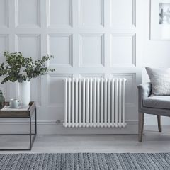 "Regent Electric -  White Horizontal 2-Column Traditional Cast-Iron Style Radiator - 23.625"" x 31"""