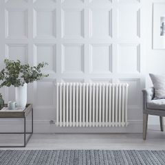 "Regent Electric -  White Horizontal 3-Column Traditional Cast-Iron Style Radiator - 23.625"" x 39"""