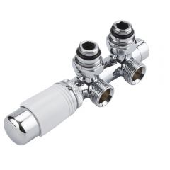 Hudson Reed White Thermostatic Angled H-Block Radiator Valve