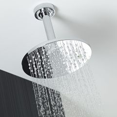 """One-function 8"""" Diameter Round Ceiling Mounted Showerhead - Chrome Finish"""