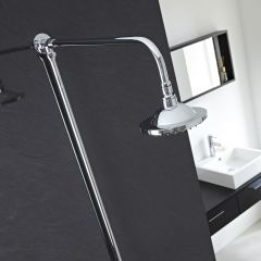 "Chrome Traditional High Quality Rigid Riser Shower Kit with 6"" Overhead Shower"
