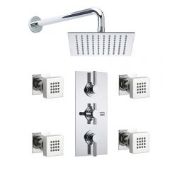 """Tec Pura Plus Concealed Thermostatic Shower Valve With 8"""" Square Showerhead And 4 Square Body Jet"""
