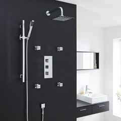 Thermostatic Shower System with Curved Arm, Slide Rail Kit & 4 Body Jets