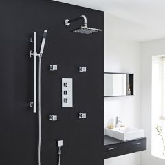 Thermostatic Shower System with Slide Rail Kit & Body Jets