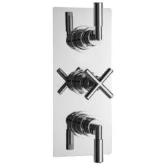 Helix Concealed Thermostatic Triple Shower Valve with Diverter 3 Outlet Options - Chrome Plated Brass