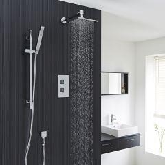 """Thermostatic Shower Valve With Divertor 2 Outlets, 8"""" Square Head And Slide Rail Kit"""