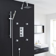 """Valquest Thermostatic Shower System with 8"""" Head, Handshower & 4 Square Jet Sprays"""