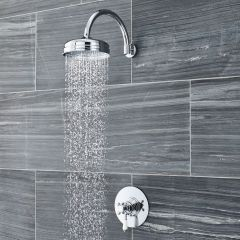 """Traditional Thermostatic 1 Outlet Dual Shower Valve with 12"""" Apron Head & Arm"""