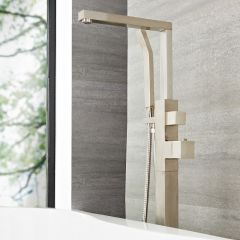 Kubix - Brushed Nickel Freestanding Tub Faucet with Hand Shower
