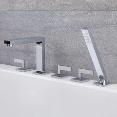 Kubix - Chrome Roman Tub Faucet with Hand Shower