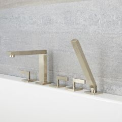 Kubix - Brushed Nickel Roman Tub Faucet with Hand Shower