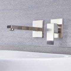 Kubix - Brushed Nickel Wall Mounted Bathroom Faucet