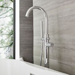 Quest - Chrome Freestanding Tub Faucet with Hand Shower