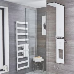 Hale - White Aluminum Shower Panel with Integrated Storage