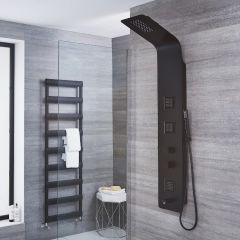 Upton - Black Aluminum Thermostatic Shower Panel with Tub Spout
