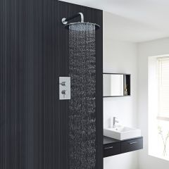 """Quest Thermostatic 1 Outlet Shower System with 12"""" Head"""