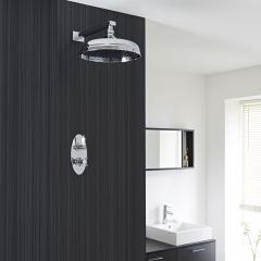 """Beaumont Thermostatic 1 Outlet Shower System with 12"""" Apron with Wall Arm"""