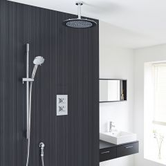 "Kristal Thermostatic 2 Outlet Shower System with 12"" Ceiling Head & Handshower"