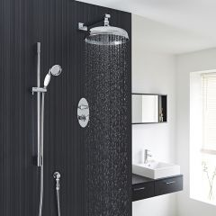 "Beaumont Thermostatic 2 Outlet Shower System with 12"" Apron with Wall Arm & Handset"