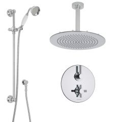 "Tec Thermostatic 2 Outlet Shower System with 12"" Round Head & Arm & Traditional Handset"