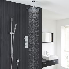 """Tec Thermostatic Shower System with 12"""" Round Ceiling Head & Handshower"""