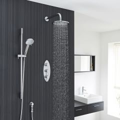 """Quest Thermostatic Shower System with 8"""" Head with Wall Arm & Multi-function Handshower"""