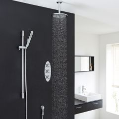 "Kristal Thermostatic Shower System with 8"" Head with Ceiling Arm & Handshower"