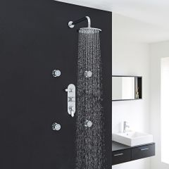 "Traditional Thermostatic Shower System with 8"" Round Head & Arm & 4 Round Jet Sprays"