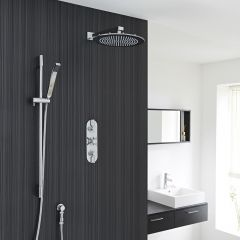 """Valquest Thermostatic Shower System with 12"""" Round Head & Brass Handset"""