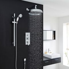 """Traditional Thermostatic Shower System with 12"""" Apron Head & Wall Arm & Handset"""