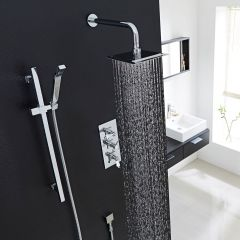 """Beaumont Thermostatic Shower System with 8"""" Square Head & Wall Arm & Handset"""