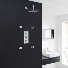 "Tec Thermostatic Shower System with 8"" Square Head & Wall Arm & 4 Square Jet Sprays"