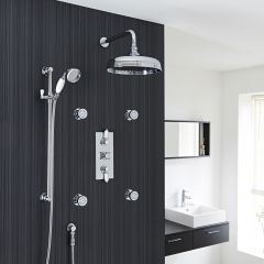 """Traditional Thermostatic Shower System with 12"""" Ceiling Apron Head, Handshower & 4 Jet Sprays"""