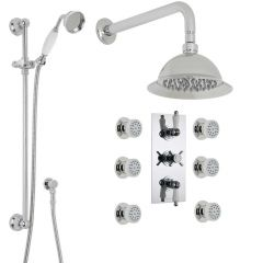 """Beaumont Thermostatic Shower System with 8"""" Rose, Handshower & 6 Jet Sprays"""