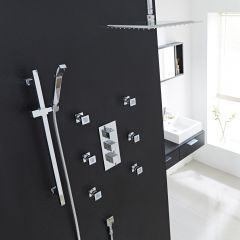 "Valquest Thermostatic Shower System with 12"" Ceiling Head, Handshower & 6 Square Jet Sprays"
