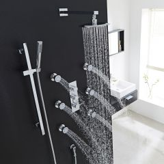 "Quest Thermostatic Shower System with 8"" Head, Handshower & 6 Sheer Jet Sprays"