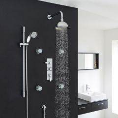 "Traditional Thermostatic Shower System with 8"" Rose, Handshower & 4 Round Jet Sprays"