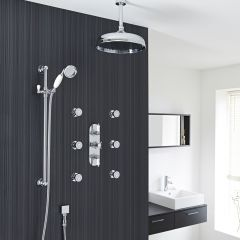 """Beaumont Thermostatic Shower System with 12"""" Apron Head & Ceiling Arm , Brass Handset & 6 Round Jet Sprays"""