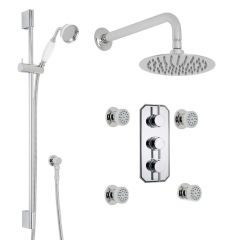 """Quest Thermostatic Shower System with 8"""" Round Head & Wall Arm , Handset & 4 Round Body Sprays"""