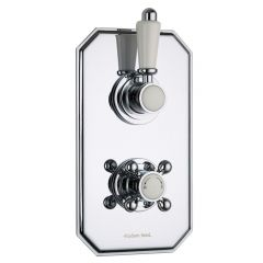 Traditional Concealed 2 Outlet Twin with Diverter Thermostatic Shower Valve (Traditional Plate)