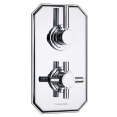 Tec Concealed 2 Outlet Twin with Diverter Thermostatic Shower Valve (Traditional Plate)
