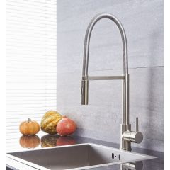 Quest - Brushed Nickel Single-Hole Kitchen Faucet