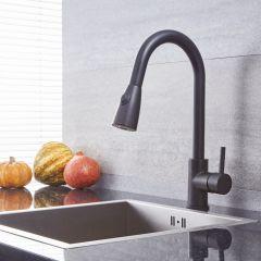 Quest - Black Single-Hole Pull-Down Kitchen Faucet