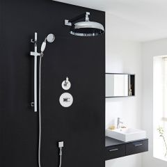 """Traditional 2-Outlet Shower System with 12"""" Apron Head, Body Jets & Diverter Valve"""