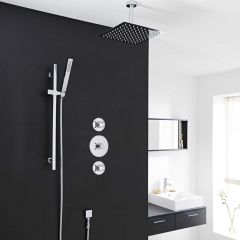 "2-Outlet Shower System with 8"" Square Head, Hand Shower & Shut-Off Valves"