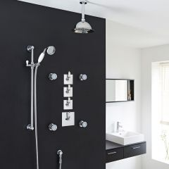 "Traditional Shower System with 8"" Rose Head, Hand Shower, Body Jets & Shut-Off Valves"