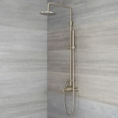 Tec - Brushed Nickel Exposed Pipe Shower System