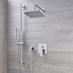 "Arcadia Chrome Shower System with 8"" Shower Head and Slide Rail Kit"