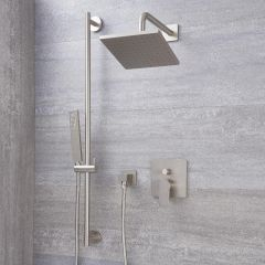"Arcadia Brushed Nickel Shower System with 8"" Shower Head and Slide Rail Kit"
